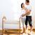 szczęśliwy · kobieta · w · ciąży · bed · mąż · domu · rodziny - zdjęcia stock © lunamarina