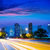 Houston · Teksas · ufuk · çizgisi · gün · batımı · trafik · ışıkları · modern - stok fotoğraf © lunamarina