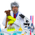 Crazy nerd scientist silly veterinary man with dog at lab stock photo © lunamarina
