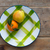 fruits tangerine and pear in vintage porcelain dish plate stock photo © lunamarina