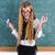 nerd pupil blond girl in green board schoolgirl stock photo © lunamarina