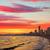 sziluett · naplemente · tengerpart · égbolt · víz · város - stock fotó © lunamarina