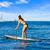 suporte · para · cima · surfar · menina · azul · oceano - foto stock © lunamarina
