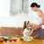 Beautiful pregnant mother with her daughter at kitchen stock photo © lunamarina
