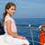 ребенка · счастливая · девушка · парусного · счастливым · лодка · синий - Сток-фото © lunamarina