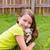 crianças · menina · jogar · cão · gramado · quintal - foto stock © lunamarina