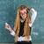 オタク · ブロンド · 少女 · 緑 · ボード · 女学生 - ストックフォト © lunamarina