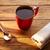 kahve · kırmızı · fincan · kaşık · bağbozumu · ahşap - stok fotoğraf © lunamarina