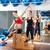 mulher · grávida · pilates · lado · exercer · cadeira · personal · trainer - foto stock © lunamarina