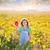 Kid girl in autumn vineyard field holding hand red leaf stock photo © lunamarina