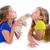 barátság · nővérek · csók · barátok · mosoly · gyerekek - stock fotó © lunamarina