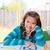 amerikan · genç · kız · ödev · sabun · köpüğü · eğitim - stok fotoğraf © lunamarina