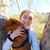 najaar · kid · meisje · huisdier · hond - stockfoto © lunamarina