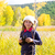 kid · veld · naar · verrekijker · gras - stockfoto © lunamarina