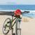 bicicleta · foto · feliz · papai · noel · vermelho - foto stock © macsim