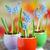 çiçekler · tablo · taze · mavi · ahşap · masa · bo - stok fotoğraf © mady70