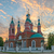 russian church over burning sunset stock photo © mahout
