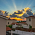 sunset over holiday beach villas stock photo © mahout