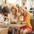 három · nők · kávéház · hölgyek · tavasz · mosoly - stock fotó © majdansky