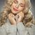 blond · vrouw · winter · trui · glimlach - stockfoto © majdansky