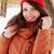 femme · rouge · cap · portrait · femmes · yeux - photo stock © mallivan