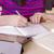 colegiala · deberes · digital · tableta · papel - foto stock © manaemedia