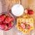 eigengemaakt · aardbeien · glas · melk · houten · vruchten - stockfoto © manaemedia