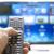 okos · távoli · irányítás · televízió · kék · képernyő - stock fotó © manaemedia