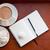kawy · słodycze · drewniany · stół · studio · papieru - zdjęcia stock © manera