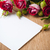 bouquet of roses and white cardboard on a wooden board stock photo © manera