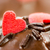 detail of a chocolate muffin with red sugar hearts stock photo © manfredxy