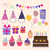 set of vector birthday party elements stock photo © margolana