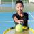tennis girl showing racquet and ball on court stock photo © maridav