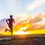 silhouet · atleet · runner · lopen · zonsondergang · actief - stockfoto © maridav