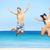 feliz · Pareja · saltar · playa · vacaciones · de · verano · hombre - foto stock © maridav