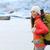 tél · trekking · Izland · utazó · lány · térkép - stock fotó © maridav