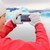woman taking smartphone photo jokulsarlon iceland stock photo © maridav