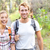 hiking   hikers walking happy in forest stock photo © maridav