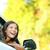 gelukkig · jonge · vrouw · naar · uit · venster - stockfoto © maridav