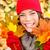 najaar · vrouw · vallen · bladeren · bos - stockfoto © Maridav
