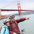 golden gate bridge   happy biking couple portrait stock photo © maridav