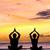 jóga · meditáció · sziluettek · emberek · naplemente · sziluett - stock fotó © maridav