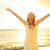 feliz · despreocupado · mulher · livre · Havaí · praia - foto stock © maridav