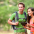 Tablet computer - couple hiking using internet app stock photo © Maridav