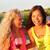 giovani · amici · bere · rosa · vino · estate - foto d'archivio © maridav