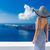 reiziger · vrouw · genieten · zee · achteraanzicht - stockfoto © maridav