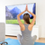 woman doing home yoga meditation in front of tv stock photo © maridav