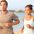 running jogging couple training on summer beach stock photo © maridav