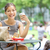 femme · d'affaires · manger · sandwich · vue · femme · d'affaires · extérieur - photo stock © maridav