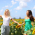 happy summer girls laughing fun in sunflower field stock photo © maridav